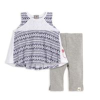 Size 24M 2-Piece Watercolor Tunic and Capri Legging Set in Navy