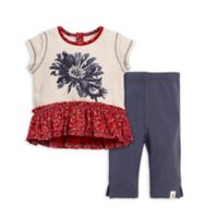 Size 0-3M 2-Piece Daisy Organic Cotton Top and Capri Legging Set in Grey