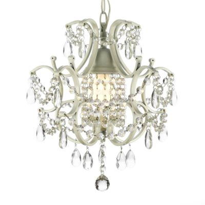Wrought iron crystal 1 light chandelier in white