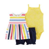 carter's® Size 9M 3-Piece Striped Tunic, Bodysuit and Short Set