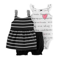 carter's® Size 6M 3-Piece Sweetie Bodysuit, Dress, and Diaper Cover Set in Black