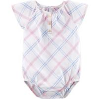 OshKosh B'gosh® Size 3M Plaid Short Sleeve Bodysuit in White