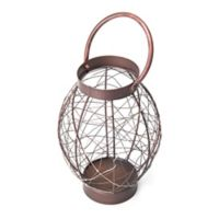 Elements by Pfaltzgraff® Oval Metal LED String Lantern in Brown