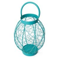 Elements by Pfaltzgraff® Oval Metal LED String Lantern in Turquoise