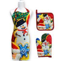 Springbok® Cookies and Christmas 3-Piece Kitchen Apron, Potholder, and Oven Mitt Set