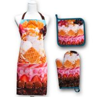 Springbok® Icing on the Cake 3-Piece Kitchen Apron, Potholder, and Oven Mitt Set