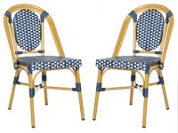Safavieh Lenda Stackable Patio Bistro Chairs in Navy/White