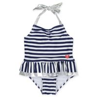 Kiko & Max Size 12M Striped Halter One-Piece Swimsuit in Navy