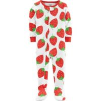 carter's® Size 12M Strawberry Zip-Front Footed Pajama in White