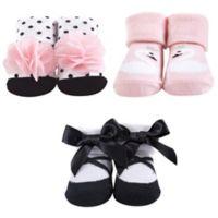 Hudson Baby® Size 0-9M Swan Pink Sock 3-Piece Gift Set