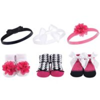 Hudson Baby® Dark Pink/Black Sock & Headband 6-Piece Gift Set