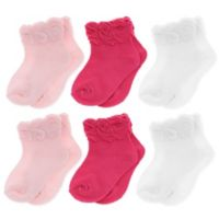 Capelli New York Size 12-24M 6-Pack Bow Cuff Socks