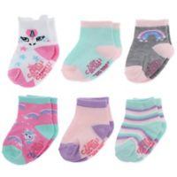 acbb57687 Capelli New York 12-24M 6-Pack Rainbow Unicorn Crew Socks