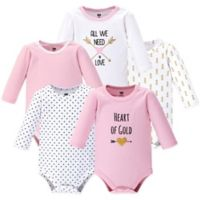Hudson Baby® Size 12-18M 5-Pack Heart Long Sleeve Bodysuits in Pink