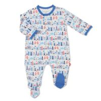 Magnetic Me™ Newborn Globetrotter Magnetic Modal Footie in Blue