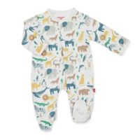 Magnetic Me™ Newborn Serengeti Magnetic Cotton Footie in Cream