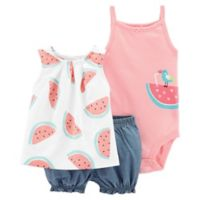 carter's® Size 3M 3-Piece Watermelon Top, Bodysuit, and Short Set