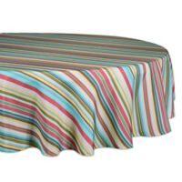 Design Imports Summer Stripe 60-Inch Round Indoor/Outdoor Tablecloth