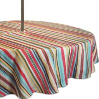 Design Imports Summer Stripe 52-Inch Round Tablecloth with Umbrella Hole