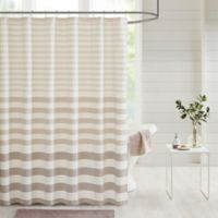 Madison Park Aviana Stripe Woven Shower Curtain in Taupe