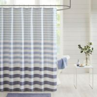 Madison Park Aviana Stripe Woven Shower Curtain in Navy