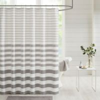 Madison Park Aviana Stripe Woven Shower Curtain in Grey
