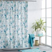 Watercolor Peacock Shower Curtain in Teal