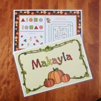 Fun For Fall! Personalized Activity Placemat