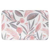 "Designs Direct 34"" x 21"" Botanicals Bath Mat in Pink"