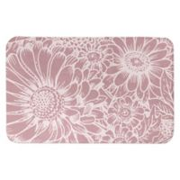 "Designs Direct 34"" x 21"" Large Blooms Bath Mat in Pink"
