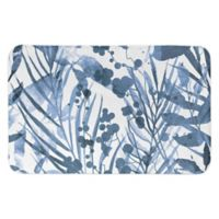 "Designs Direct 34"" x 21"" Watercolor Floral Bath Mat in Blue"