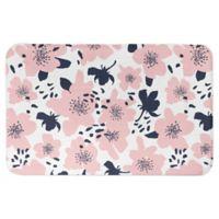 "Designs Direct 34"" x 21"" Florals Bath Mat in Pink"