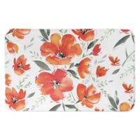 "Designs Direct 34"" x 21"" Blooms Bath Mat in Orange"