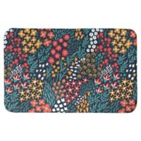 "Designs Direct 34"" x 21"" Multi Floral Bath Mat in Blue"