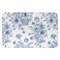 "Designs Direct 34"" x 21"" Vintage Rose Bath Mat in Blue"