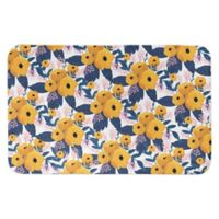 """Designs Direct 34"""" x 21"""" Floral Bath Mat in Yellow"""