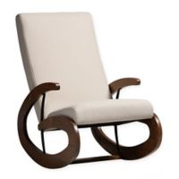 Baxton Studio® Linen Upholstered Zelda Chair in Light Beige/walnut