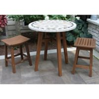 Outdoor Interiors® 3-Piece Counter Height Marble Table with Stools in Brown/Grey