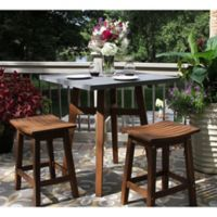 Outdoor Interiors® 3-Piece Counter Height Composite Table with Stools in Brown/Grey