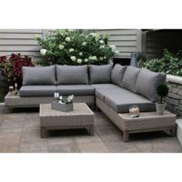 Outdoor Interiors® 4-Piece Wicker and Eucalyptus Patio Sectional Set in Beige/Brown