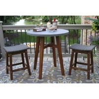 Outdoor Interiors® 3-Piece Counter Height Composite Table with Wicker Stools in Brown/Grey