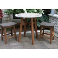 Outdoor Interiors® 3-Piece Counter Height Marble Table with Wicker Stools in Brown/Grey