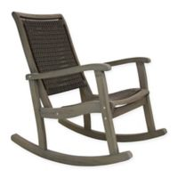 Outdoor Interiors® Eucalyptus and Wicker Outdoor Rocking Chair in Grey