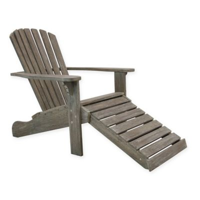 Outdoor Interiors® Eucalyptus Outdoor Adirondack Chair with Built-In Ottoman in Grey  sc 1 st  Bed Bath u0026 Beyond & Buy Outdoor Adirondack Chairs | Bed Bath u0026 Beyond