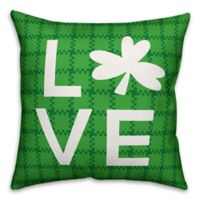 Designs Direct St. Patrick's Plaid Clover Love Square Throw Pillow