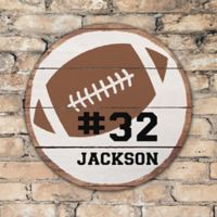 Football Personalized Round Wood Sign