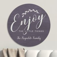Enjoy The Little Things Personalized Round Wood Sign