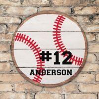 Baseball Personalized Round Wood Sign