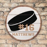 Hockey Puck Personalized Round Wood Sign