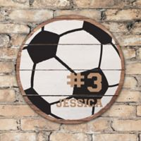 Soccer Ball Personalized Round Wood Sign